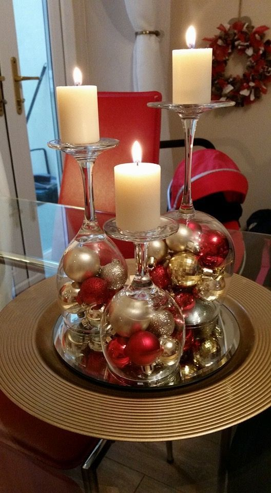 centros de mesa para navidad en color rojo con esferas