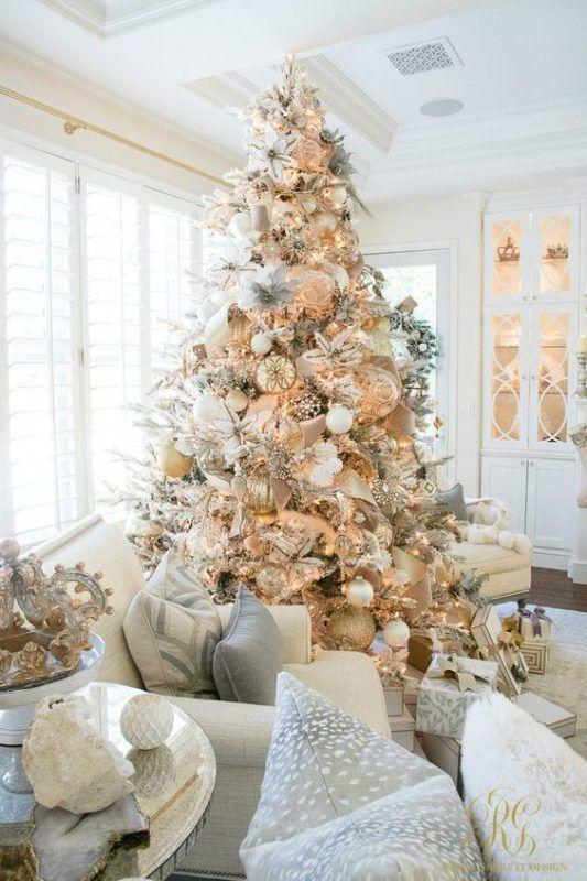 decoracion navideña plata y dorado