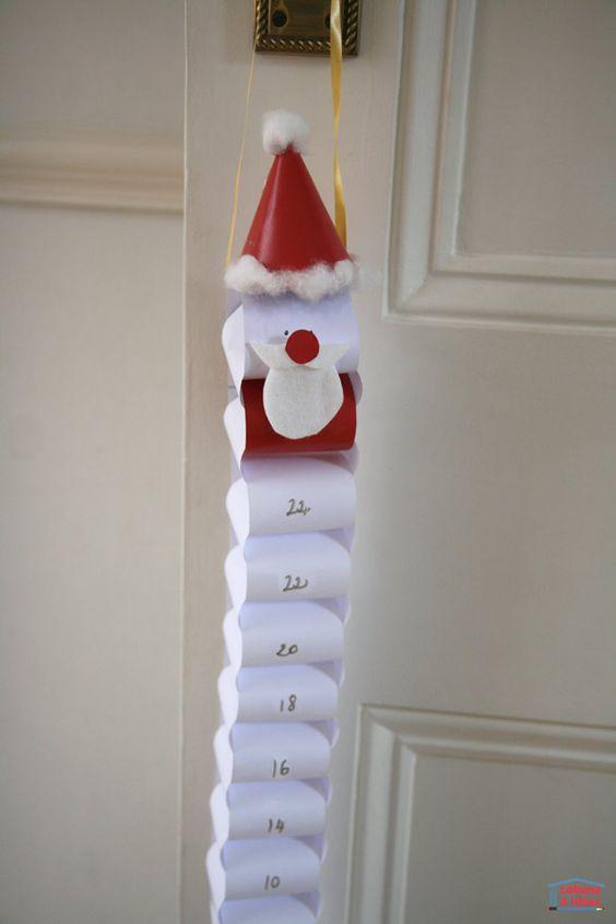 ideas para elaborar calendarios navideños con tubos de papel