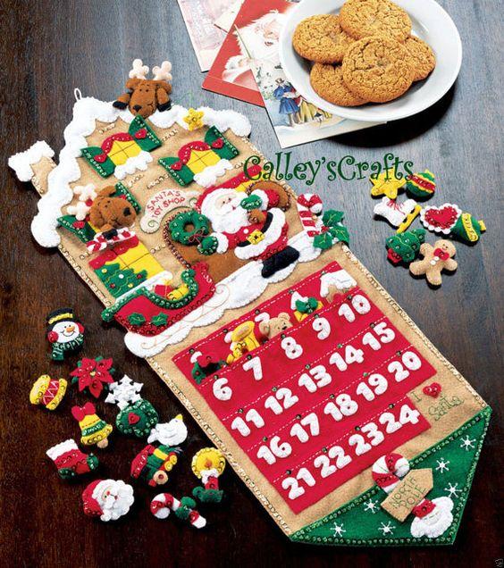 ideas para montar un calendario navideño con fieltro