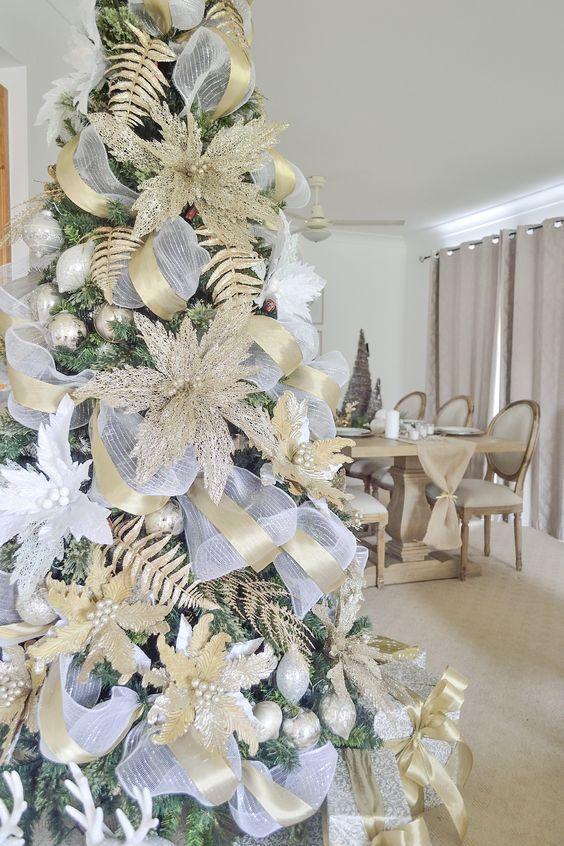 pinos navideños dorados con plata 2019 - 2020