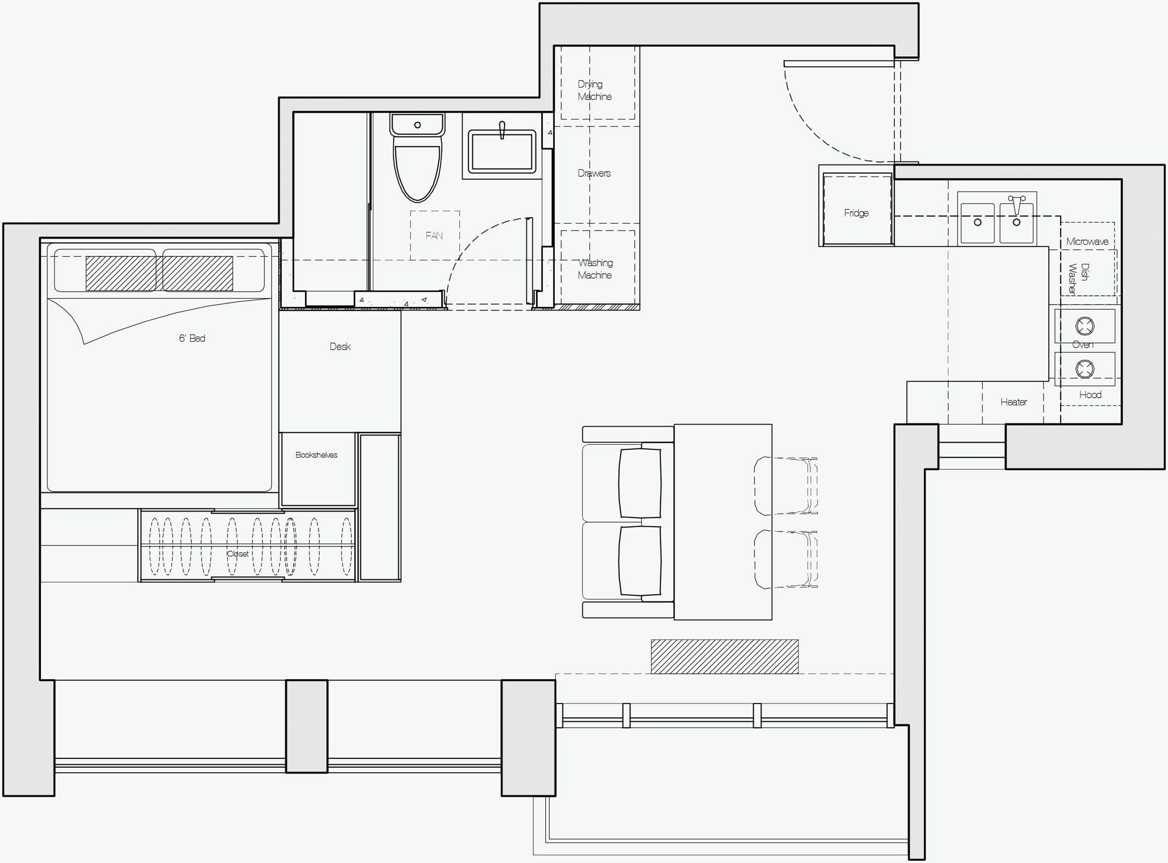 Plano de distribución departamento de 32 metros cuadrados