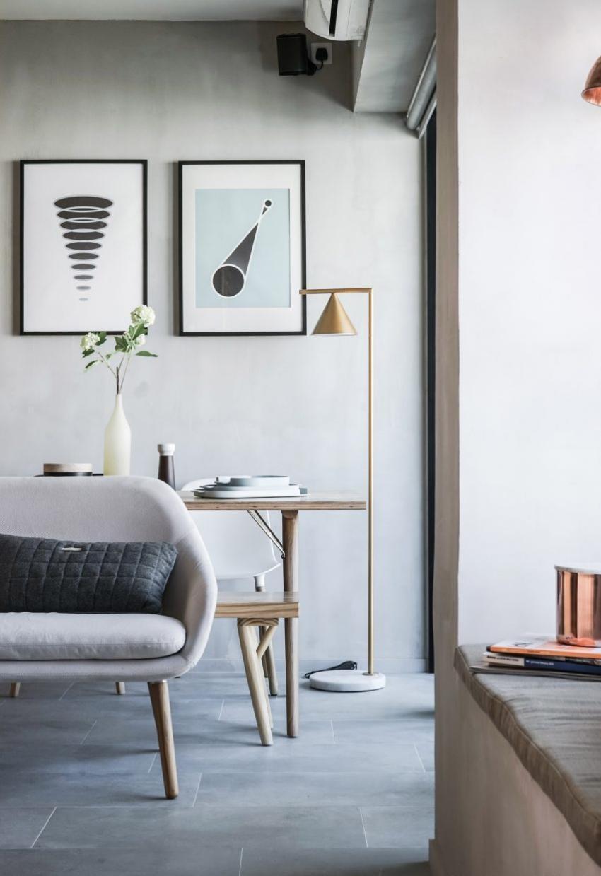 Sala de estar y comedor de departamento de 32 metros cuadrados