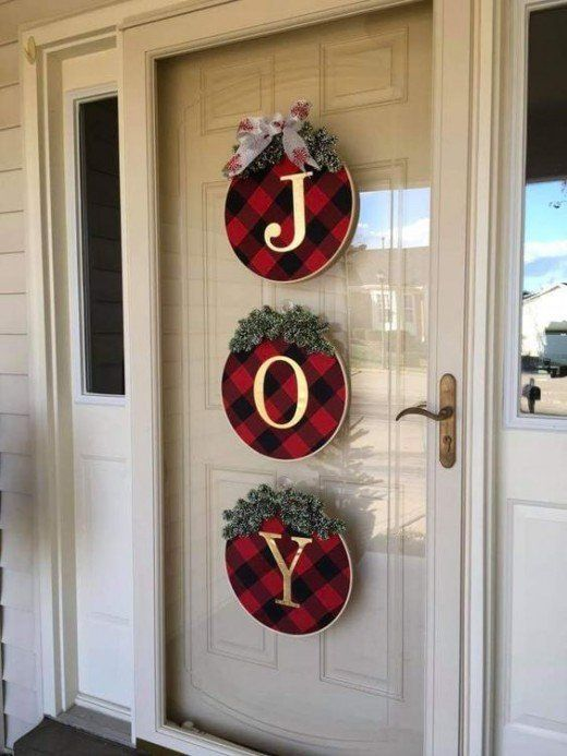 Letras para puerta con detalles navideños para decoración