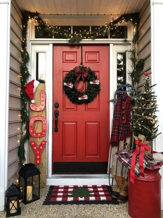 Props para puerta en decoración navideña