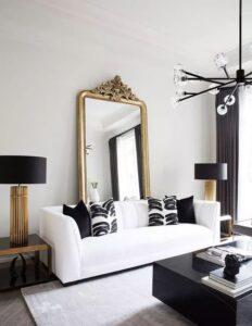 Salas elegantes decoradas en blanco con negro