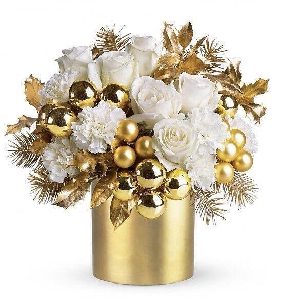 Accesorios decorativos para navidad blanco con dorado