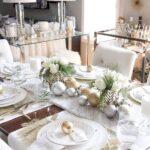 Centros de mesa navideños en color blanco con dorado