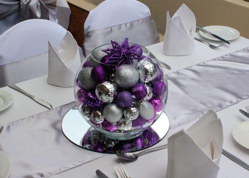 Centros de mesa navideños plata y morado