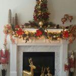 Chimeneas navideñas color rojo, verde y dorado