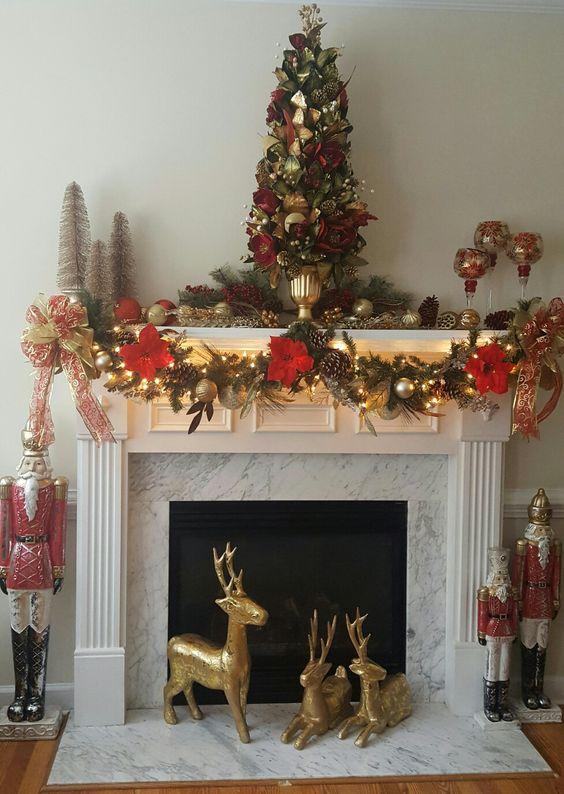 Chimeneas navideñas decoradas rojo con dorado