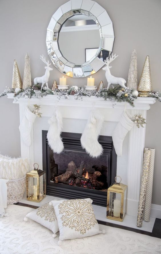 Chimeneas navideñas en color blanco