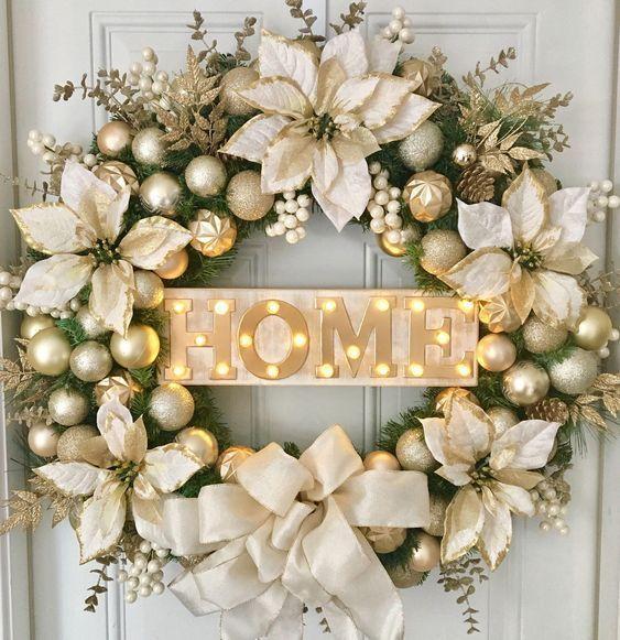 Coronas navideñas para puertas blanco con dorado