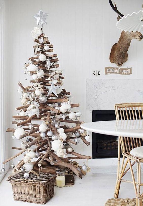 Adornos navideños en blanco