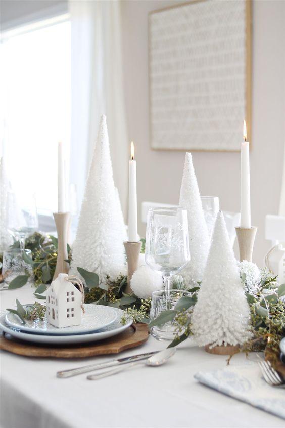 Centros de mesa navideños color blanco