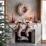 Chimeneas navideñas rosa con dorado