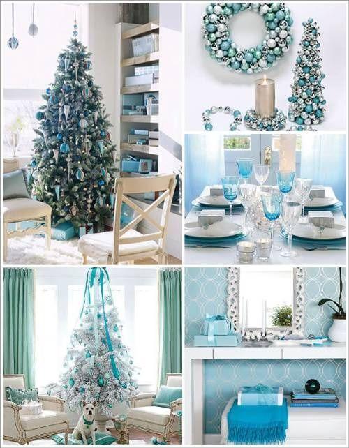 Mesa para la cena navideña en azul turquesa
