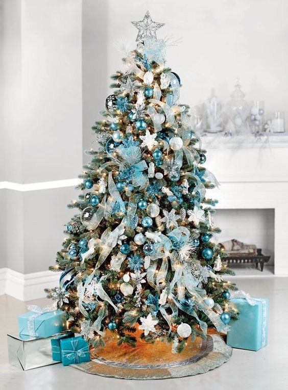 Adornos navideños color turquesa