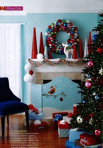 Centros de mesa navideños azul y rojo