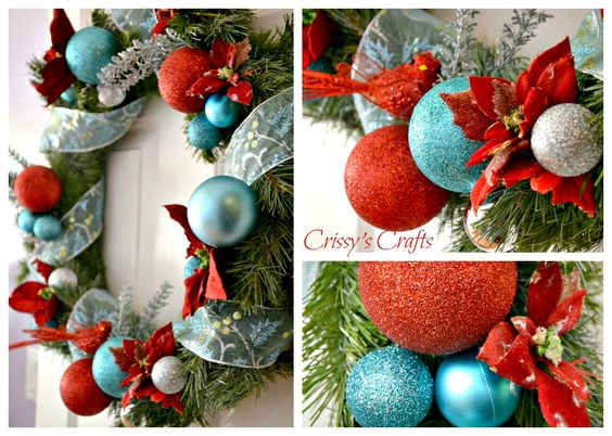 Adornos navideños azul turquesa y rojo