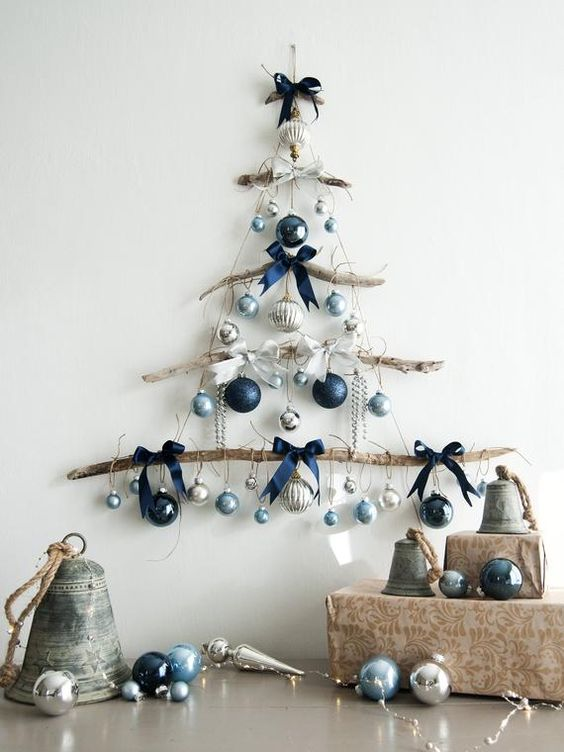Ideas de decoración navideña azul y plata