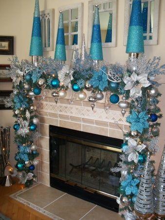 Chimeneas navideñas azul y plata