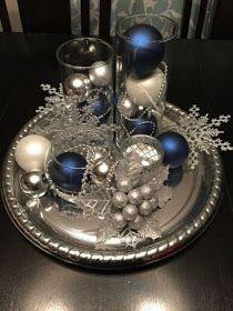 Centros de mesa navideños azul y plata
