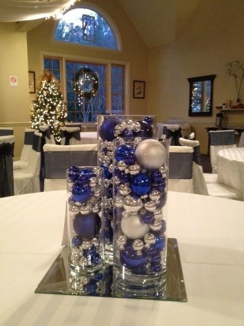 Adornos navideños azul con plata