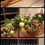 Centros de mesa navideños rojo, verde y dorado