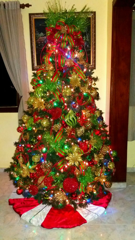 Ideas de decoración navideña rojo, verde y dorado