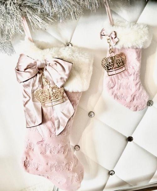 Chimeneas navideñas rosa con plata