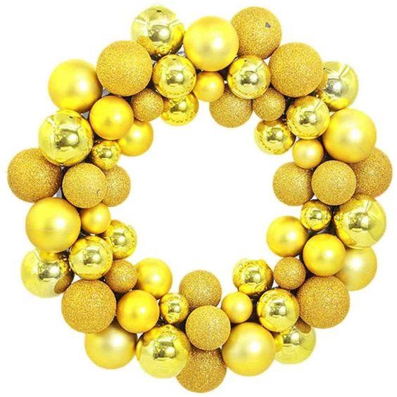 Coronas navideñas en color amarillo